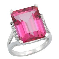 Natural 12.13 ctw Pink-topaz & Diamond Engagement Ring 14K White Gold - REF-71H2W