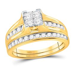 1 CTW Princess Diamond Bridal Engagement Ring 14KT Yellow Gold - REF-97M4H