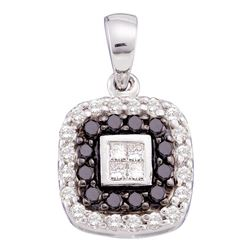 0.54 CTW Black Color Diamond Square Pendant 14KT White Gold - REF-32Y9X