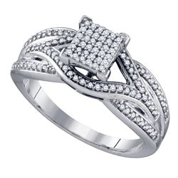 0.33 CTW Diamond Square Cluster Ring 10KT White Gold - REF-44H9M