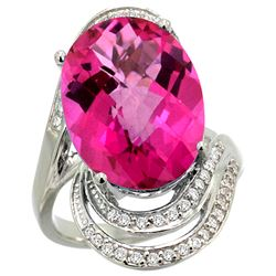 Natural 11.46 ctw Pink-topaz & Diamond Engagement Ring 14K White Gold - REF-86K6R