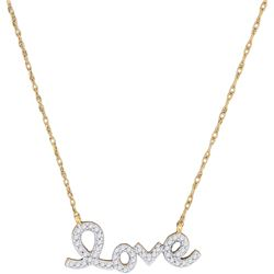 0.15 CTW Diamond Love Pendant 10KT Yellow Gold - REF-16H4M
