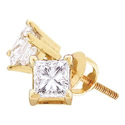 0.75 CTW Princess Diamond Solitaire Stud Earrings 14KT Yellow Gold - REF-93W7K