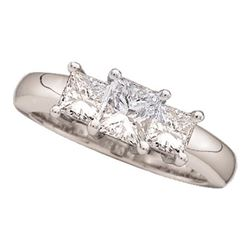 0.81 CTW Princess Diamond 3-stone Bridal Engagement Ring 14KT White Gold - REF-97N4F