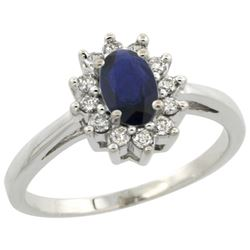 Natural 0.86 ctw blue-sapphire & Diamond Engagement Ring 14K White Gold - REF-30K9R