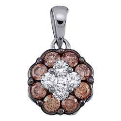 0.50 CTW Cognac-brown Color Diamond Cluster Pendant 14KT White Gold - REF-34X4Y