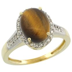 Natural 2.49 ctw Tiger-eye & Diamond Engagement Ring 10K Yellow Gold - REF-29R4Z