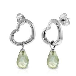 Genuine 4.5 ctw Green Amethyst Earrings Jewelry 14KT White Gold - REF-42V6W
