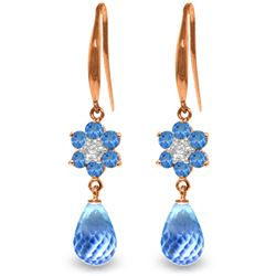 Genuine 5.51 ctw Blue Topaz & Diamond Earrings Jewelry 14KT Rose Gold - REF-47V4W