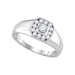 0.50 CTW Mens Diamond Cluster Ring 14KT White Gold - REF-71K4W