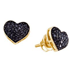 0.40 CTW Black Color Diamond Pave Stud Heart Earrings 14k Yellow Gold - REF-22W4K