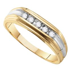 0.12 CTW Mens Diamond Single Row Two-tone Wedding Ring 10KT Yellow Gold - REF-18M2H