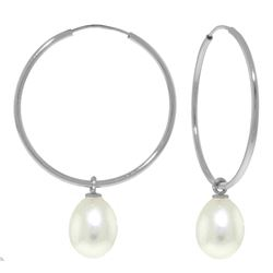 Genuine 8 ctw Pearl Earrings Jewelry 14KT White Gold - REF-23K2V