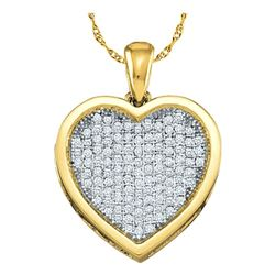0.05 CTW Diamond Cluster Small Heart Love Pendant 10KT Yellow Gold - REF-4W5K