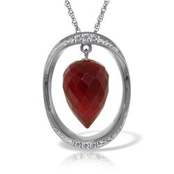 Genuine 13.1 ctw Ruby & Diamond Necklace Jewelry 14KT White Gold - REF-122T8A