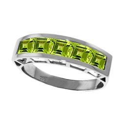 Genuine 2.25 ctw Peridot Ring Jewelry 14KT White Gold - REF-54T2A