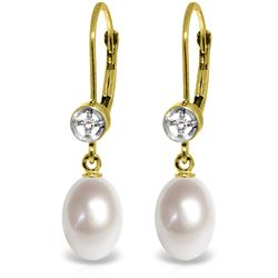 Genuine 8.03 ctw Pearl & Diamond Earrings Jewelry 14KT Yellow Gold - REF-25T9A