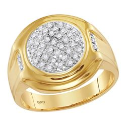 0.33 CTW Mens Diamond Circle Cluster Fashion Ring 10KT Yellow Gold - REF-37N5F