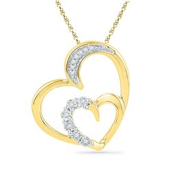 0.04 CTW Diamond Heart Love Pendant 10KT Yellow Gold - REF-12F2N