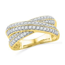 0.50 CTW Diamond Crossover Ring 10KT Yellow Gold - REF-52H4M