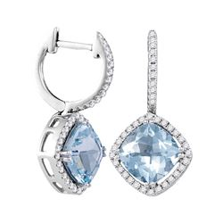4.44 CTW Cushion Natural Aquamarine Diamond Dangle Earrings 14KT White Gold - REF-154H4M