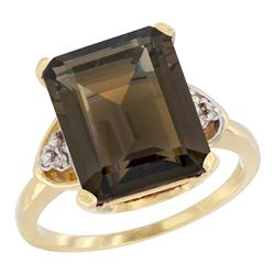 Natural 5.44 ctw smoky-topaz & Diamond Engagement Ring 10K Yellow Gold - REF-32M2H