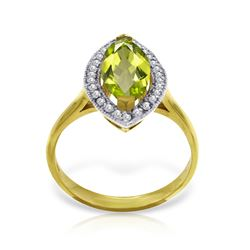 Genuine 2.15 ctw Peridot & Diamond Ring Jewelry 14KT Yellow Gold - REF-71X3M