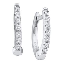 0.08 CTW Prong-set Diamond Single Row Hoop Earrings 14KT White Gold - REF-24X2Y