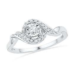 0.16 CTW Diamond Solitaire Promise Bridal Ring 10KT White Gold - REF-18F2N