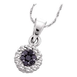 0.25 CTW Black Color Diamond Framed Flower Cluster Pendant 14KT White Gold - REF-18M2H