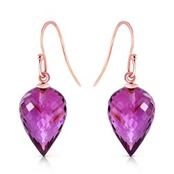 Genuine 19 ctw Amethyst Earrings Jewelry 14KT Rose Gold - REF-28R4P