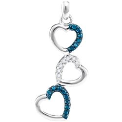 0.17 CTW Blue Color Diamond Triple Cascading Heart Pendant 10KT White Gold - REF-13X4Y