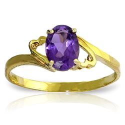 Genuine 0.75 ctw Amethyst Ring Jewelry 14KT Yellow Gold - REF-20Z4N