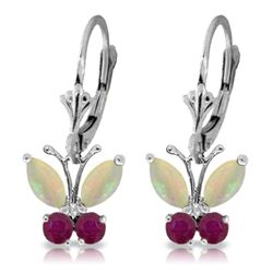 Genuine 1.39 ctw Opal & Ruby Earrings Jewelry 14KT White Gold - REF-41X4M