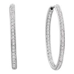 0.50 CTW Diamond In/Out Endless Hoop Earrings 14KT White Gold - REF-67H4M