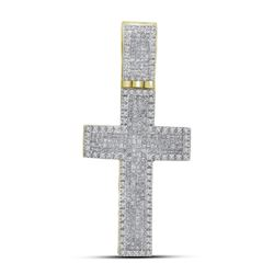 1.65 CTW Mens Princess Diamond Inset Cross Charm Pendant 10KT Yellow Gold - REF-82M4H