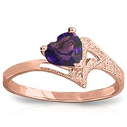 Genuine 0.75 ctw Amethyst Ring Jewelry 14KT Rose Gold - REF-35W9Y