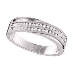 0.25 CTW Mens Diamond 2-Row Wedding Anniversary Ring 10KT White Gold - REF-44X9Y