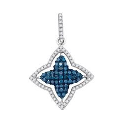 0.50 CTW Blue Color Diamond Star Pendant 10KT White Gold - REF-22M4H