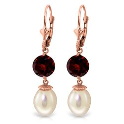 Genuine 11.10 ctw Pearl & Garnet Earrings Jewelry 14KT Rose Gold - REF-26W6Y