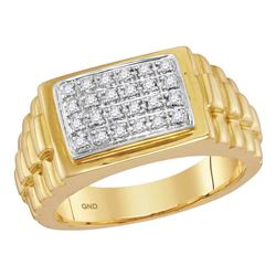 0.20 CTW Mens Diamond Rectangle Cluster Ribbed Side Ring 10KT Yellow Gold - REF-44H9M