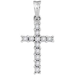 0.06 CTW Diamond Cross Pendant 10KT White Gold - REF-8X9Y