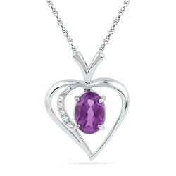 0.76 CTW Oval Created Amethyst Heart Love Pendant 10KT White Gold - REF-9H7M