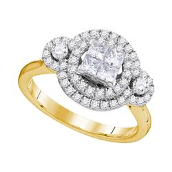 0.82 CTW Princess Diamond Circle Cluster Bridal Engagement Ring 14KT Yellow Gold - REF-108M2H