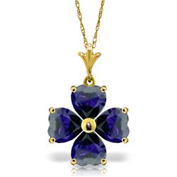 Genuine 3.6 ctw Sapphire Necklace Jewelry 14KT Yellow Gold - REF-52W2Y