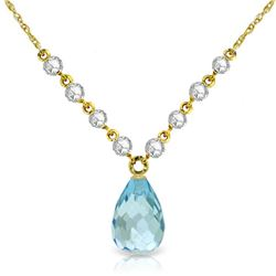 Genuine 11.30 ctw Blue Topaz & Diamond Necklace Jewelry 14KT Yellow Gold - REF-129Y4F
