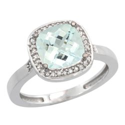 Natural 3.94 ctw Aquamarine & Diamond Engagement Ring 14K White Gold - REF-61G3M