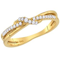 0.16 CTW Diamond Crossover Stackable Ring 10KT Yellow Gold - REF-18F6N