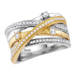 0.47 CTW Diamond Crossover Ring 14KT Two-tone Gold - REF-82X4Y