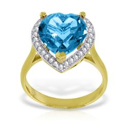 Genuine 6.44 ctw Blue Topaz & Diamond Ring Jewelry 14KT Yellow Gold - REF-69P6H